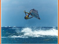 Another true love of Dimitris. WINDSURFING He is one of the best wavesailors in Greece and his experience is appreciated by anyone in the Greek windsurfing world. Photo of him sailing in Tarifa Spain.